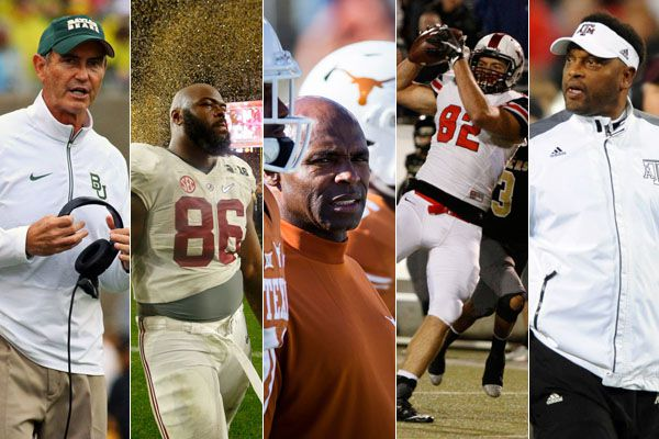 Pictured above, from LEFT TO RIGHT: Baylor coach Art Briles; former FW Arlington Heights and Alabama DT A'Shawn Robinson; Texas coach Charlie Strong; Flower Mound Marcus TE and Stanford commit Kaden Smith; and Texas A&M coach Kevin Sumlin. What factors have led to the Big 12's precipitous dive in recruiting?