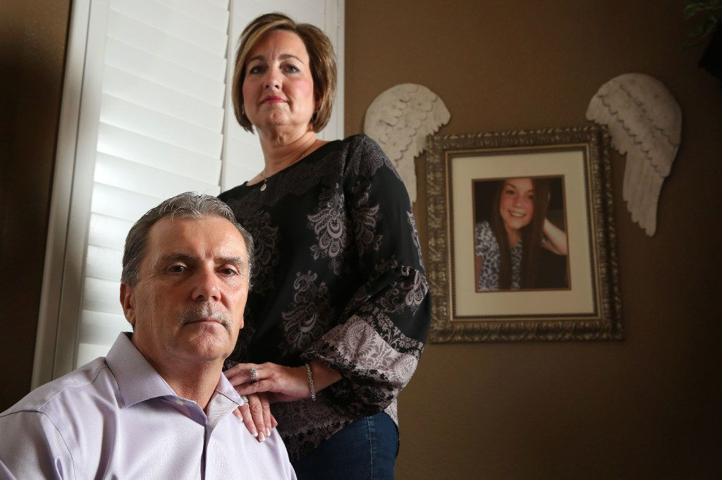 Tim and Raina Clark of Fate lost their 15-year-old daughter, Hanna (background photo), to suicide in 2013.