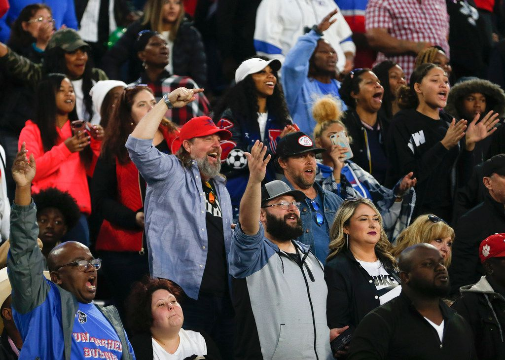 Duncanville fans cheer during the second half of a Class 6A Division I state semifinal football matchup between Rockwall and Duncanville on Saturday, Dec. 14, 2019 at McKinney ISD Stadium in McKinney, Texas. (Ryan Michalesko/The Dallas Morning News)