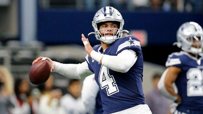 Dallas Cowboys quarterback Dak Prescott (4) throws during pregame warmups before facing the Los Angeles Rams at AT&T Stadium in Arlington, Texas, Sunday, December 15, 2019.