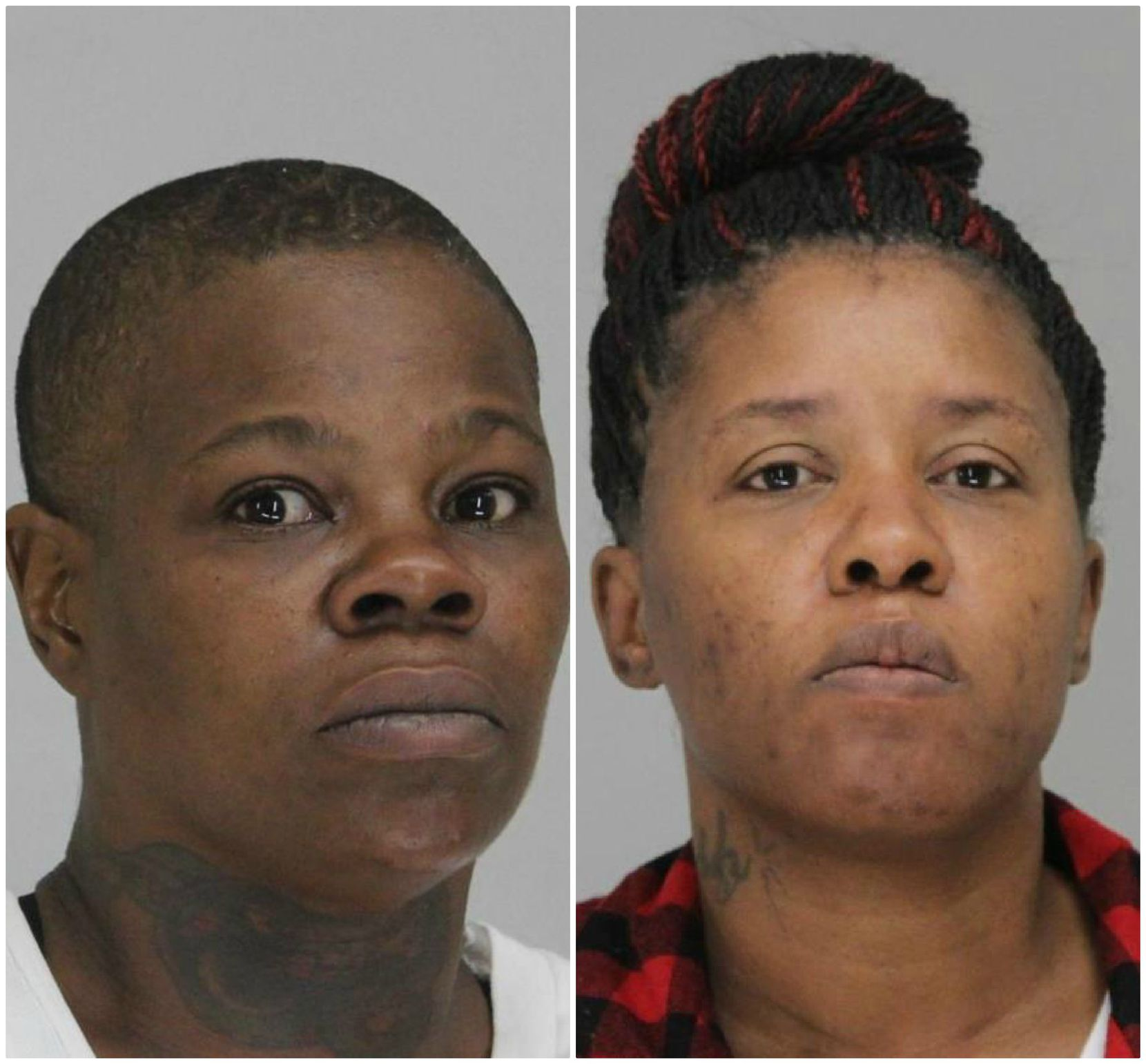Toni Renee Caldwell (left) and Rhonda Cheryl Harper face charges of burglary of a building, a North Dallas home destroyed in last month's tornado.