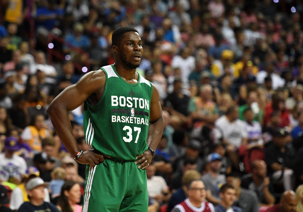 LAS VEGAS, NV - JULY 15:  Semi Ojeleye #37 of the Boston Celtics stands on the court during a 2017 Summer League game against the Dallas Mavericks at the Thomas & Mack Center on July 15, 2017 in Las Vegas, Nevada. Dallas won 91-74. NOTE TO USER: User expressly acknowledges and agrees that, by downloading and or using this photograph, User is consenting to the terms and conditions of the Getty Images License Agreement.  (Photo by Ethan Miller/Getty Images)