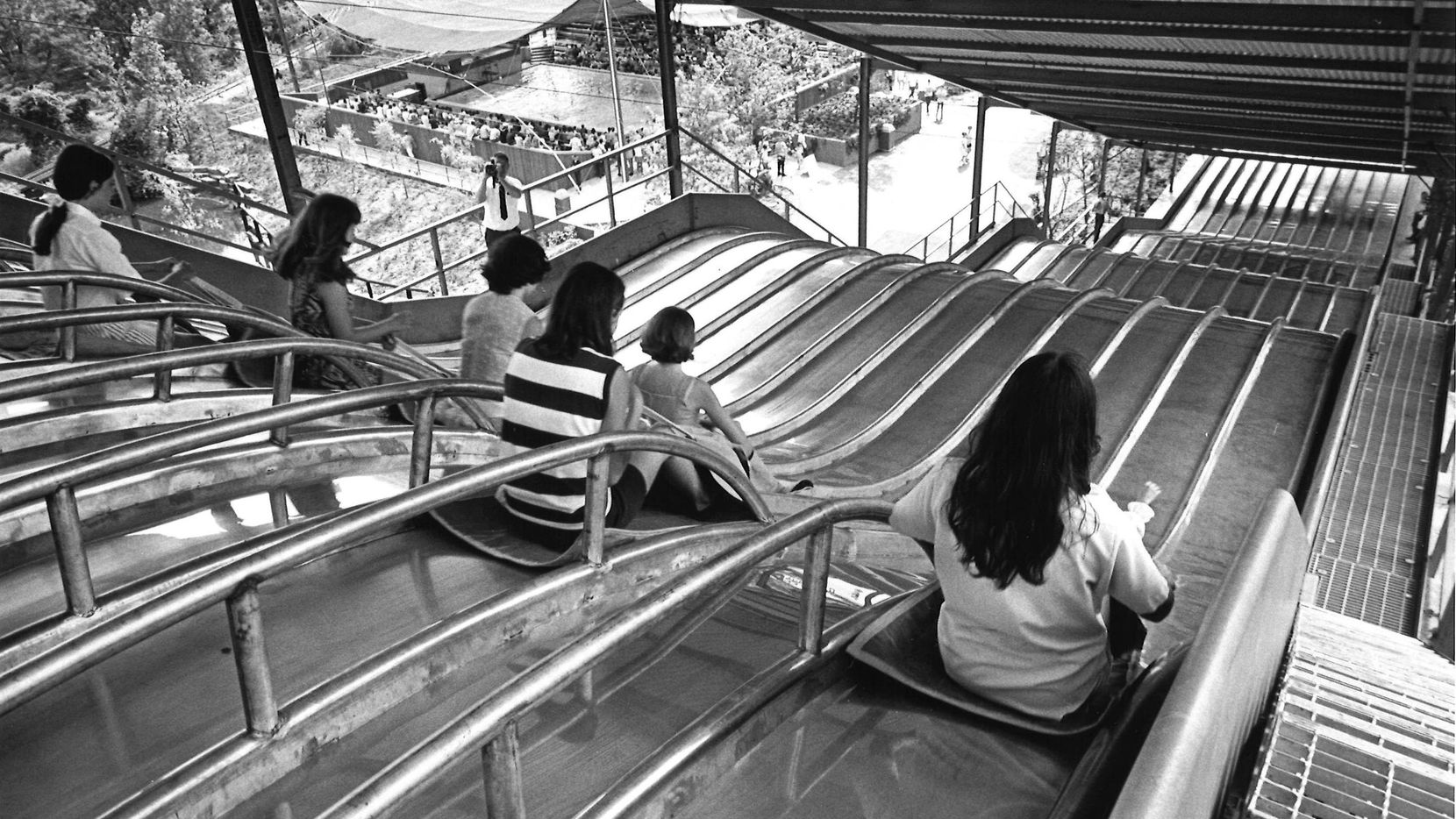 A 'super slide' that opened at Six flags in 1969. It's not the Texas Giant but it sure is something.