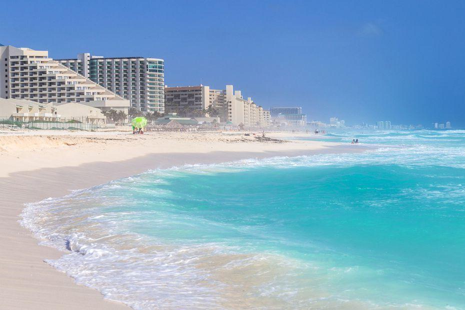 A beach along the Caribbean coast in Cancun, Mexico.