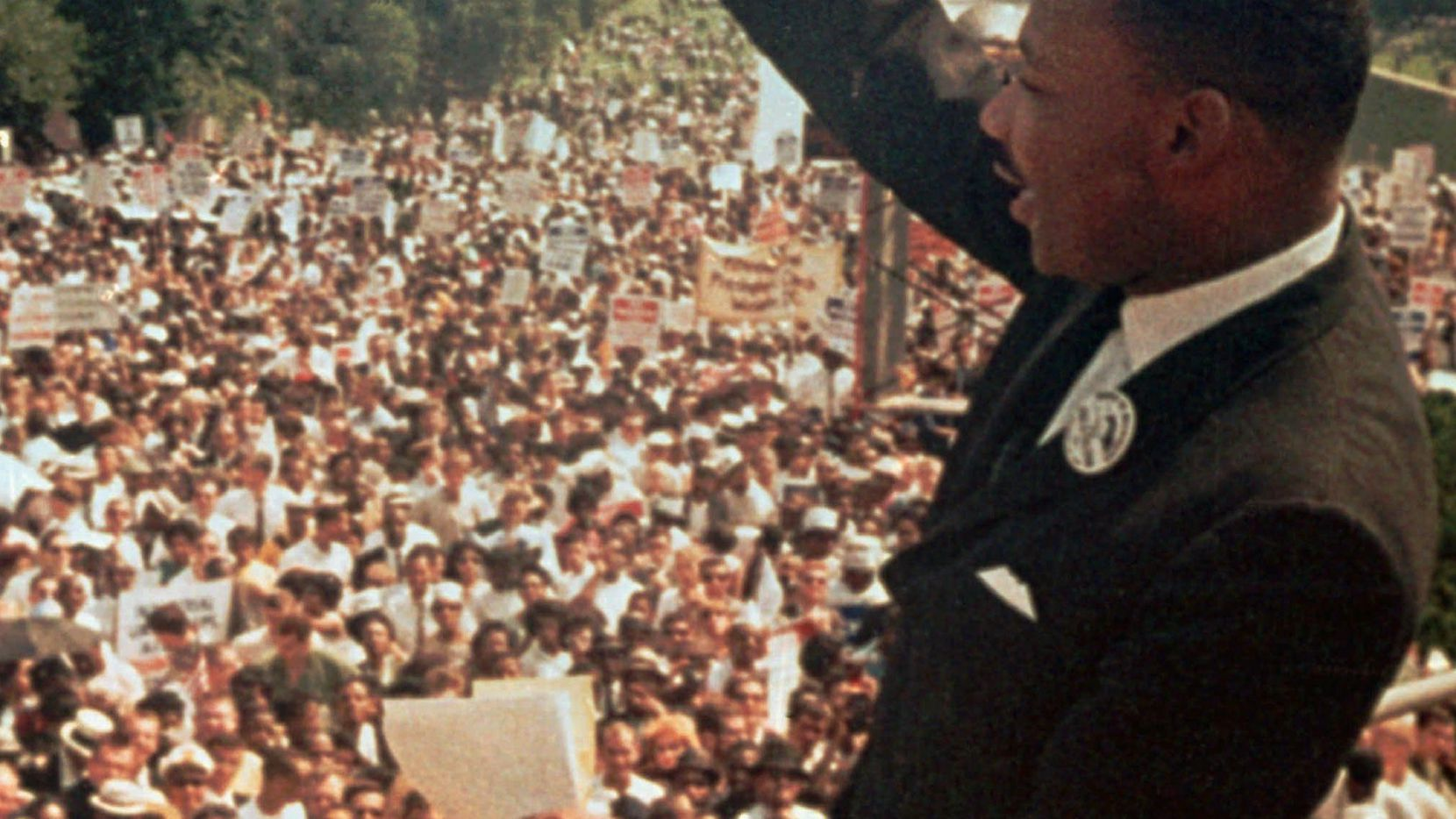 """The Rev. Martin Luther King Jr. waves to the crowd at the Lincoln Memorial on Aug. 28, 1963. Grand Prairie will rename N.W. and S.W. 19th St. to ML King Jr. Blvd. on Saturday, the 58th anniversary of King's """"I Have a Dream"""" speech."""