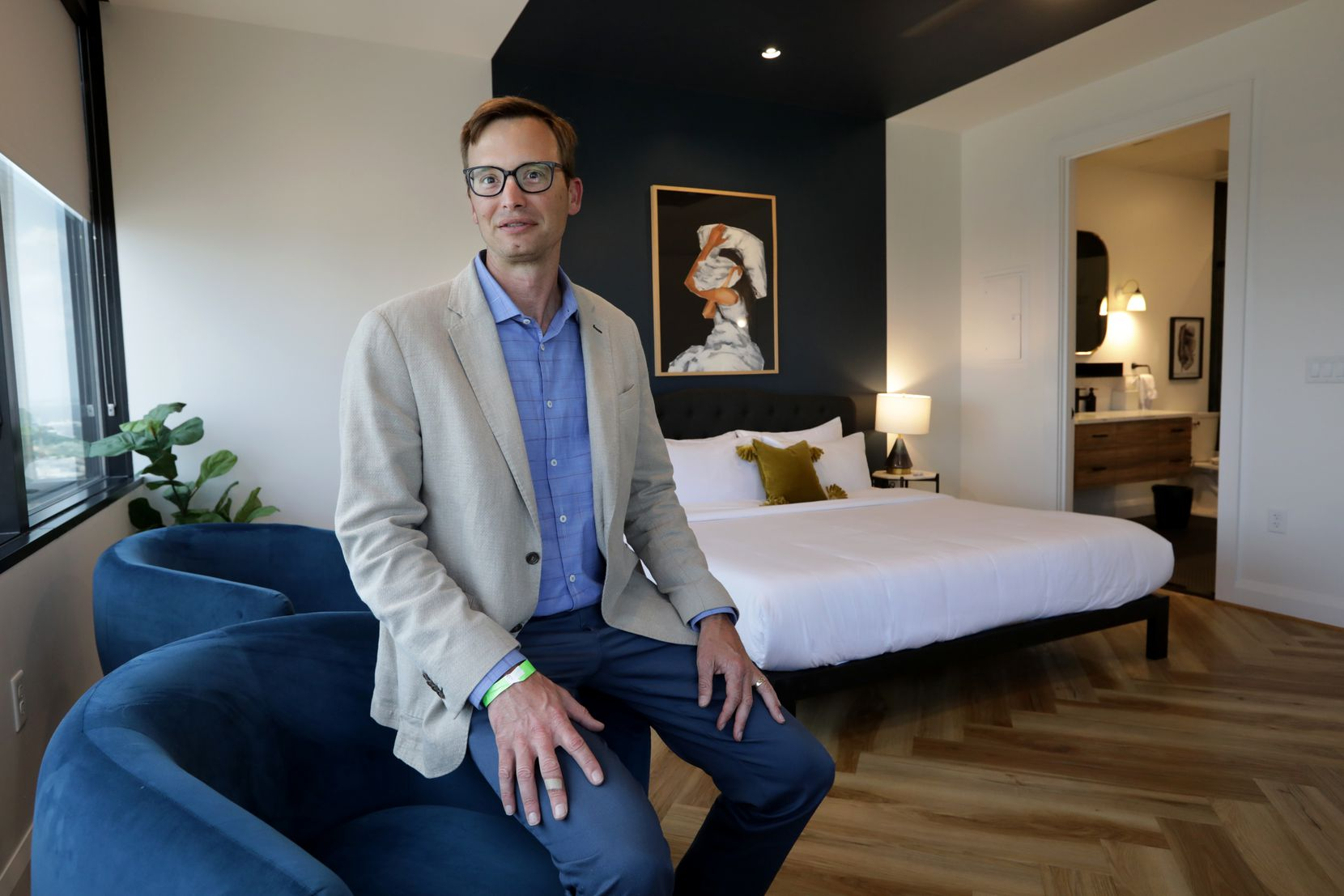 The Guild co-founder Brian Carrico in one of the rooms at Santander Tower in downtown Dallas.  (Jason Janik/Special Contributor)