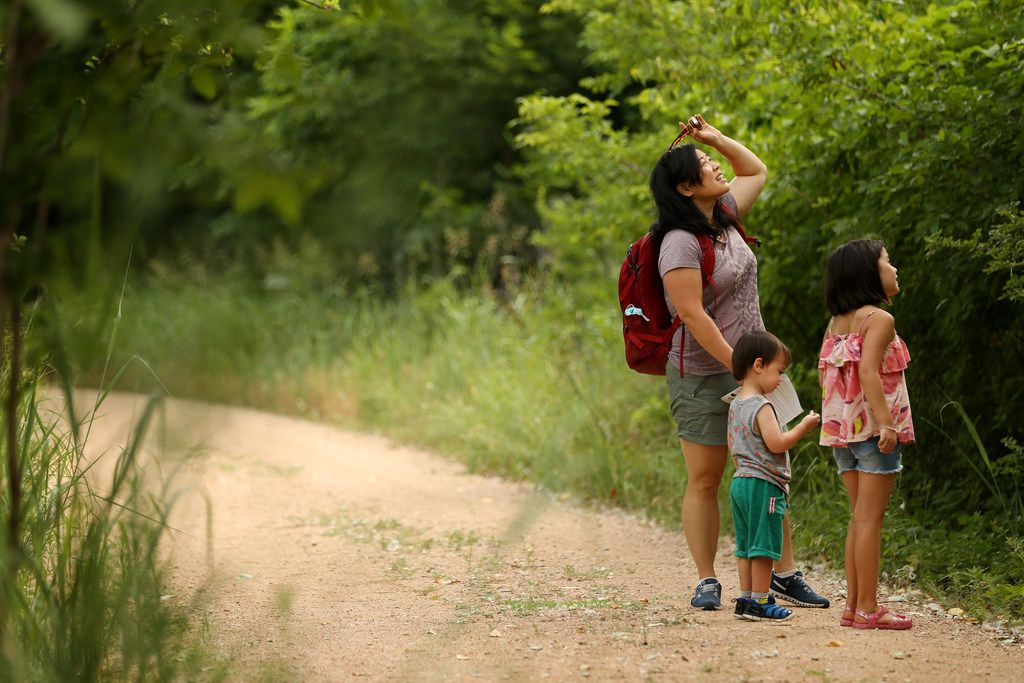 Daphne Pee and her children Ada Stuyvenberg, 7, and Ian Stuyvenberg, 2, take a stop along Cottonwood Trail at Lake Lewisville Environmental Learning Area in June.