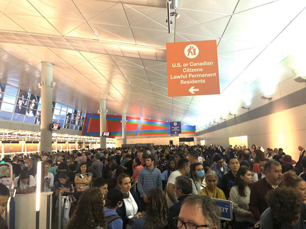 Passengers waited several hours to get through customs at  DFW airport on Saturday, March 14, 2020. (via Twitter)