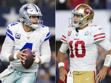 L to R: Dallas Cowboys quarterback Dak Prescott (Ashley Landis/The Dallas Morning News), San Francisco 49ers quarterback Jimmy Garoppolo (Tom Pennington/Getty Images)
