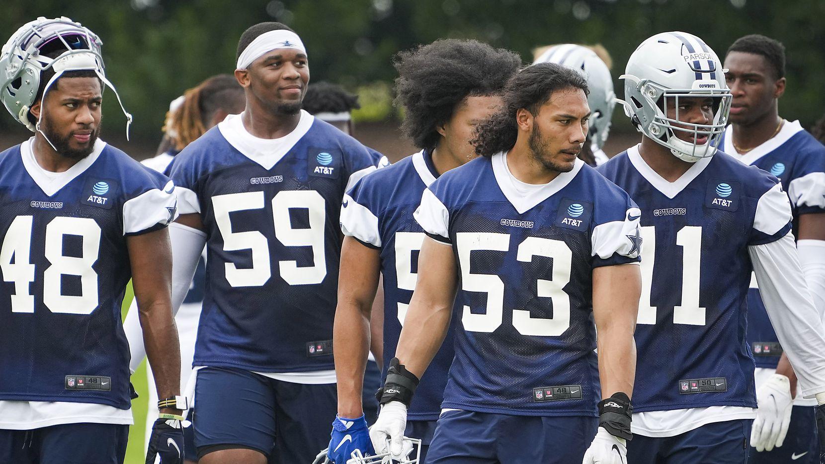 Los jugadores de los Cowboys de Dallas en su última práctica de primavera en The Star de Frisco, el 10 de junio de 2021.