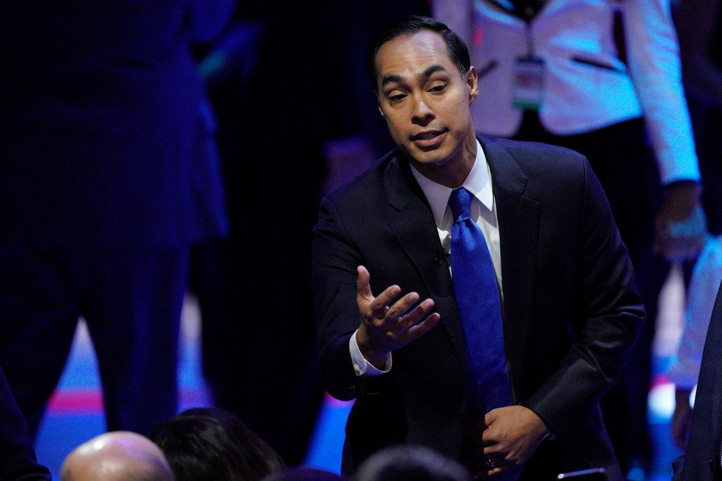Democratic presidential candidate former Housing Secretary Julian Castro greets people Thursday, Sept. 12, 2019, during a Democratic presidential primary debate hosted by ABC at Texas Southern University in Houston. (AP Photo/David J. Phillip)