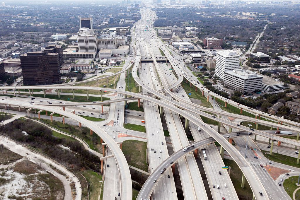 Intersection of LBJ Freeway (Interstate 635 and Central Expressway (U.S. 75) at the High Five Interchange in Dallas on Friday, February 15, 2019.