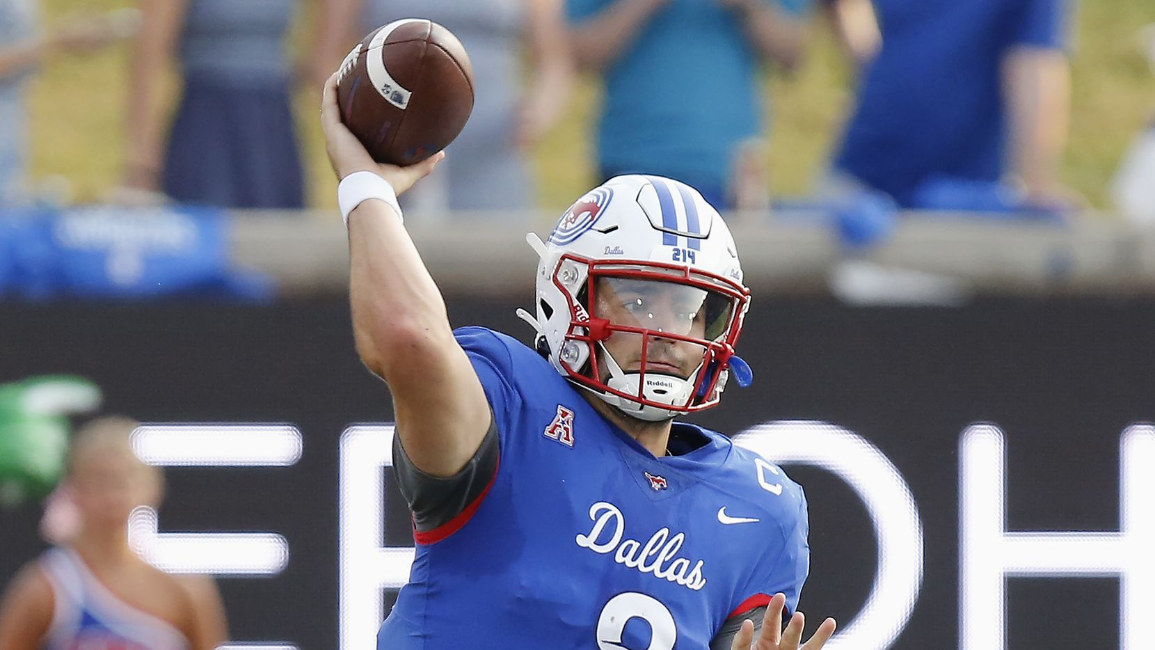 Southern Methodist Mustangs quarterback Tanner Mordecai (8) throws a pass during the first half as SMU hosted UNT at Ford Stadium in Dallas on Saturday, September 11, 2021.