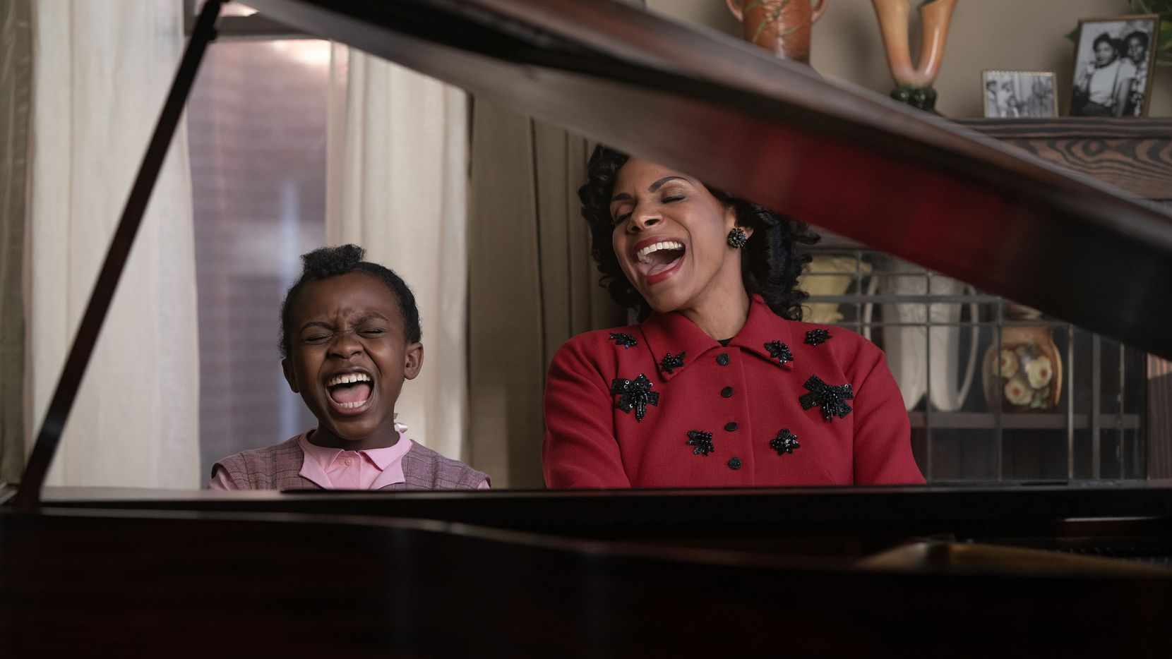 """Skye Turner stars as a young Aretha Franklin and Audra McDonald as her mother, Barbara, in """"Respect."""""""