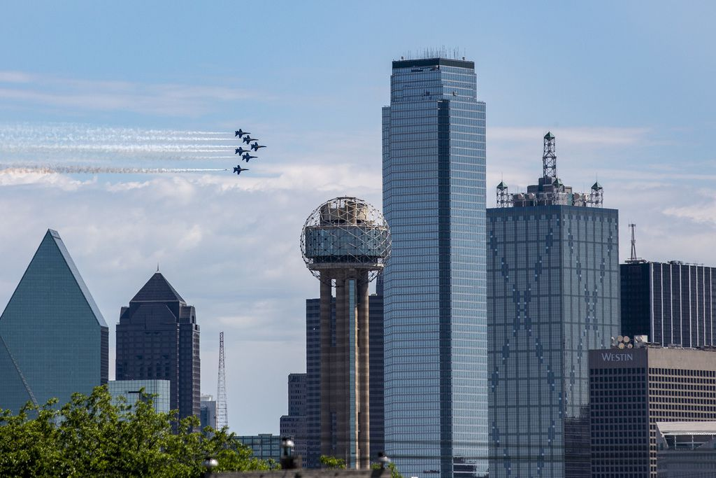The U.S. Navy Blue Angels perform a flyover in Dallas on Wednesday, May 6, 2020.