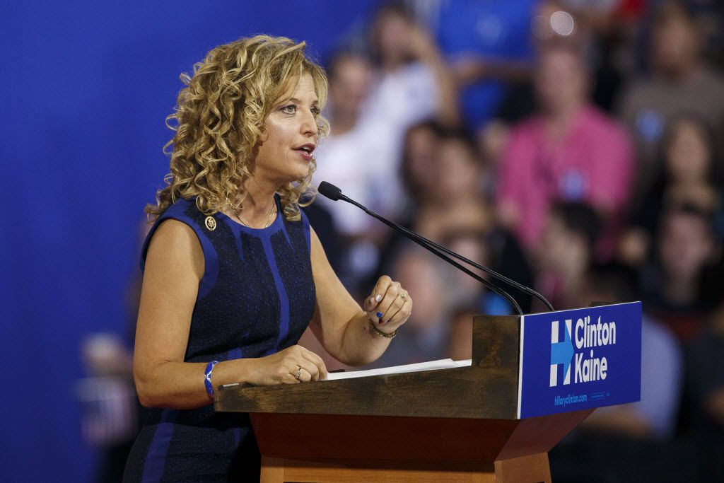 Debbie Wasserman Schultz, chairwoman of the Democratic National Committee spoke in Miami Saturday at a rally featuring Democratic presidential candidate Hillary Clinton and her new running mate, Sen. Timothy Kaine of Virginia.