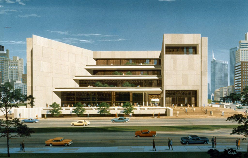 A circa 1976 rendering of the J. Erik Jonsson Central Library