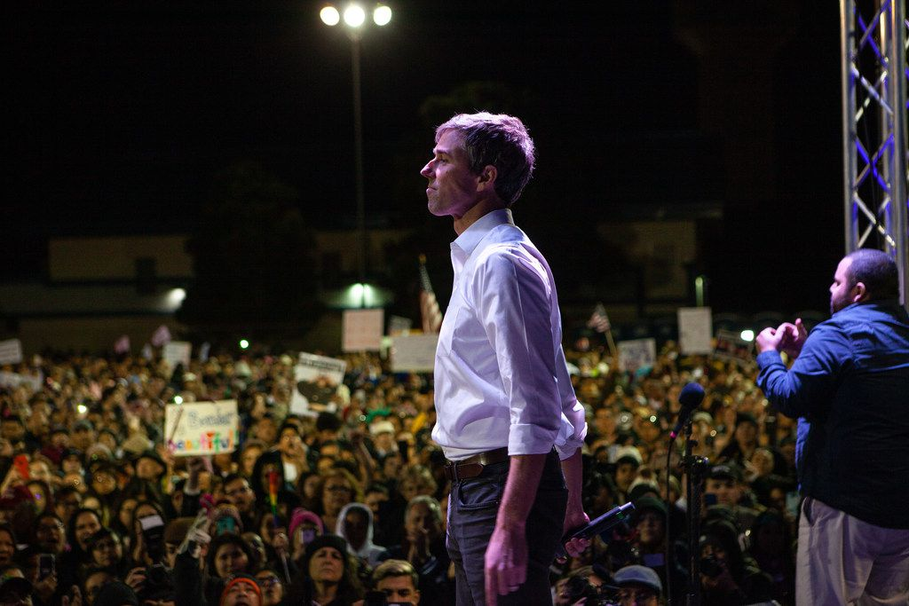 EL PASO, TX - FEBRUARY 11:  Former candidate for U.S. Senate Beto O'Rourke speaks to thousands of people gathered to protest a U.S./Mexico border wall being pushed by President Donald Trump February 11, 2019 in El Paso, Texas. The event was organized by Border Network for Human Rights and the Women's March El Paso on the same day Trump was holding a rally in support of the wall, also in El Paso.  (Photo by Christ Chavez/Getty Images)
