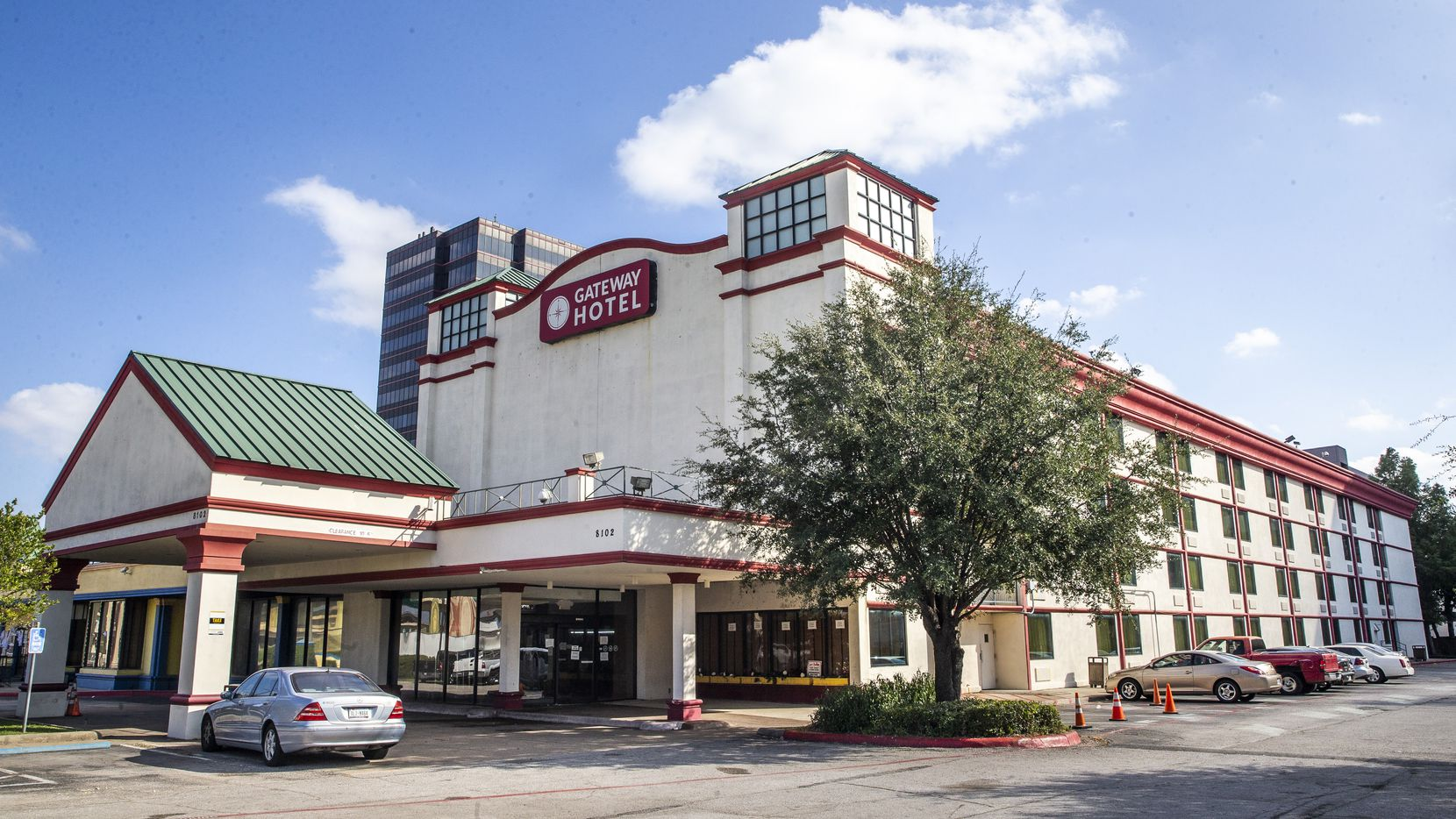 The Gateway Hotel Dallas Park Central located in Dallas on Wednesday, Oct. 21, 2020. Catholic Charities has a new initiative on homelessness that aims to help in particular those who are homeless or housing insecure as a result of the COVID-19 pandemic. Residents will receive three meals daily, full-time case managers and care coordinators will be on-site to assess the need for additional services.