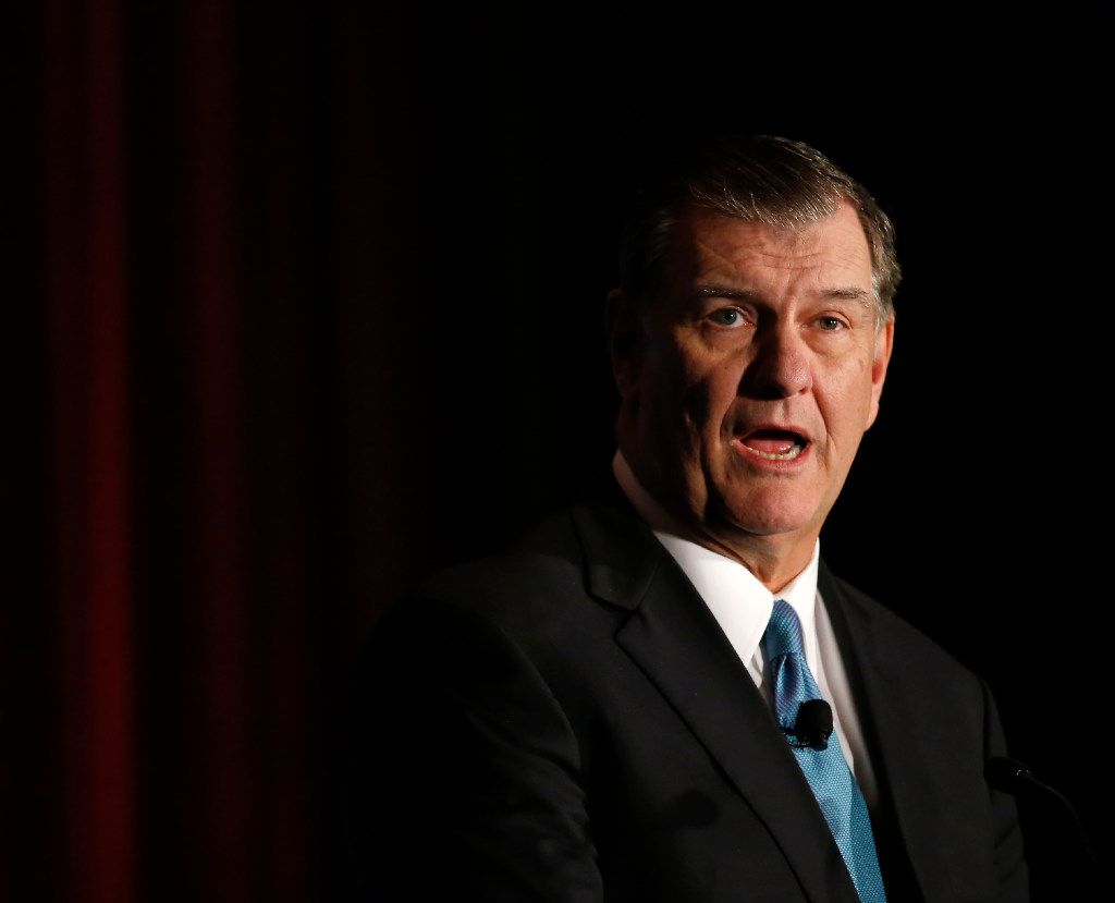 Dallas Mayor Mike Rawlings speaks during State of the City Luncheon at Omni Dallas Hotel in Dallas, Thursday, Dec. 8, 2016. Mayor Rawlings spoke about a variety of topics including the Dallas Police and Fire Pension at the luncheon. (Jae S. Lee/The Dallas Morning News)