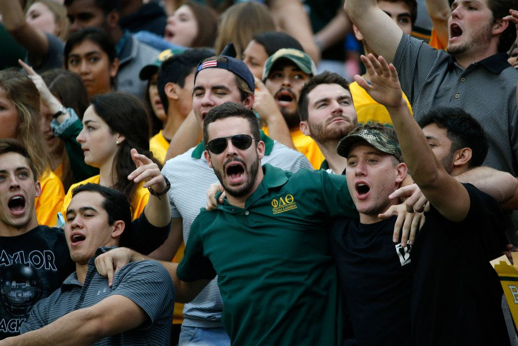 Baylor Bears fans sing during their game against TCU Horned Frogs at McLane Stadium in Waco, Texas on Nov. 5, 2016.  TCU was leading 38-14 at the half. (Nathan Hunsinger/The Dallas Morning News)