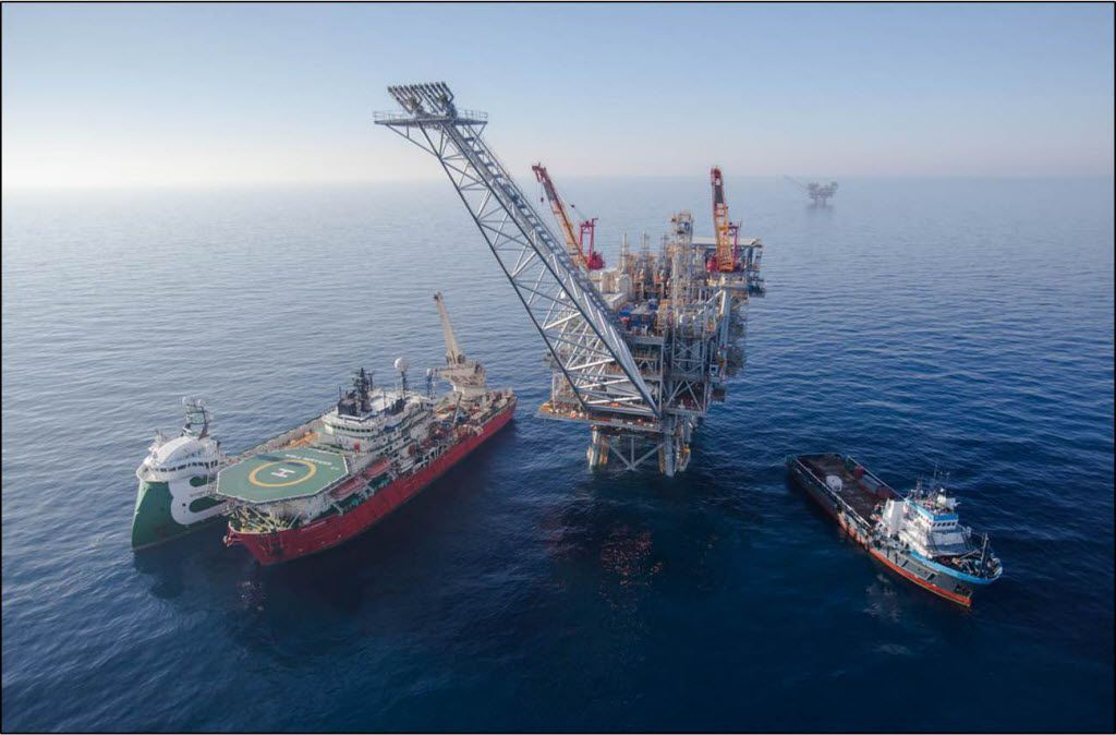 A Noble Energy gas production platform off the coast of Israel was assembled in 2013 after specialized ships carried it from Corpus Christi to the Mediterranean Sea.
