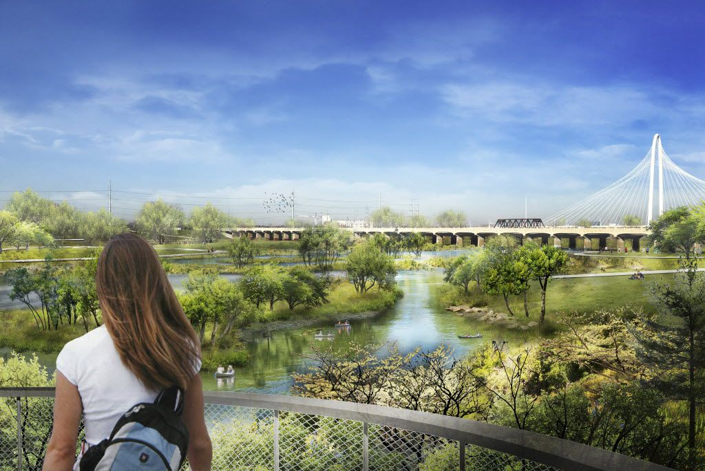 A digital, conceptual, rendering of the Trinity River Plan introduced May 20, 2016. This view shows one of the overlook areas that will be built above flood stage.