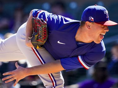 Texas Rangers pitcher Kolby Allard follows through on a pitch  during the first inning of a spring training game against the Colorado Rockies at Salt River Fields at Talking Stick on Wednesday, Feb. 26, 2020, in Scottsdale, Ariz.