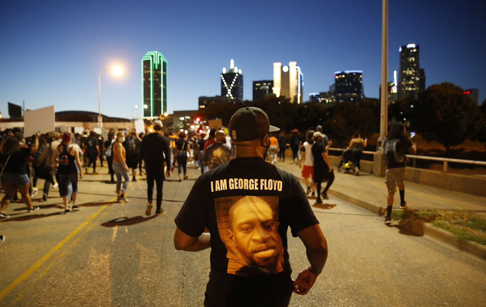 Protesters marched in downtown Dallas during a May 29 demonstration against police brutality. Four days earlier, George Floyd was killed in police custody in Minneapolis, sparking weeks of protests and resulting in charges against the four officers involved in his death