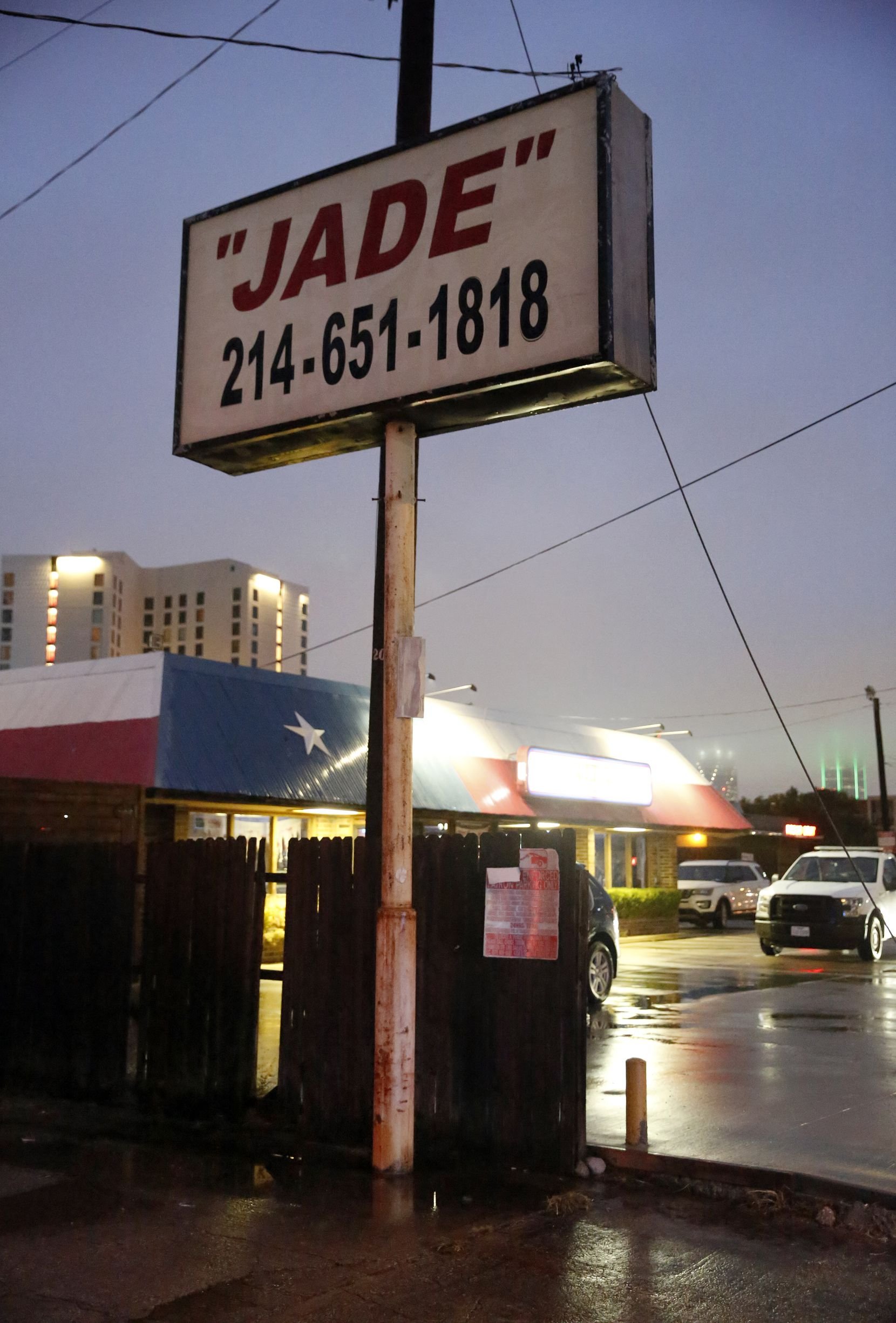 Jade Spa operated on Market Center Boulevard for more than a decade. Until last week it counted among its next-door neighbors Ferris Wheelers and Rodeo Goat.