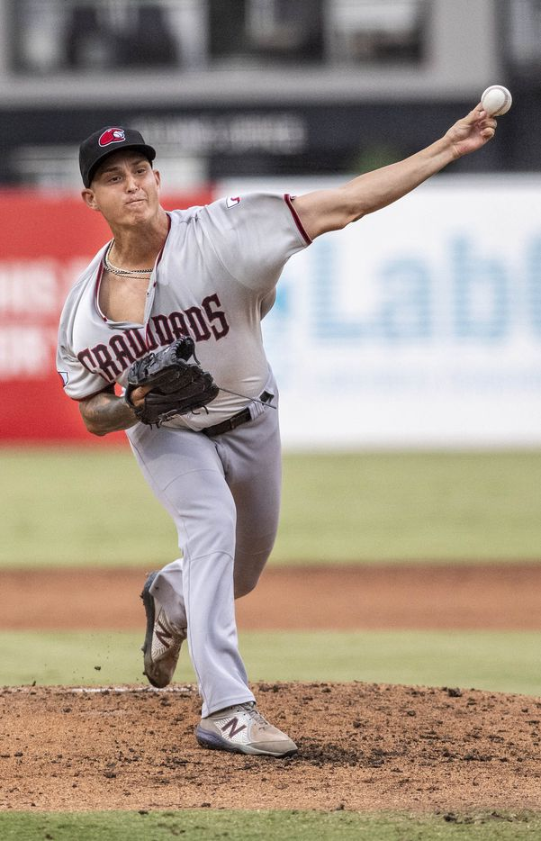 Hickory Crawdad's pitcher Avery Weems (24) during the game with the Greensboro Grasshopper's at First National Bank Field on Friday, August 6, 2021 in Greensboro, N.C. (Woody Marshall/Special Contributor)