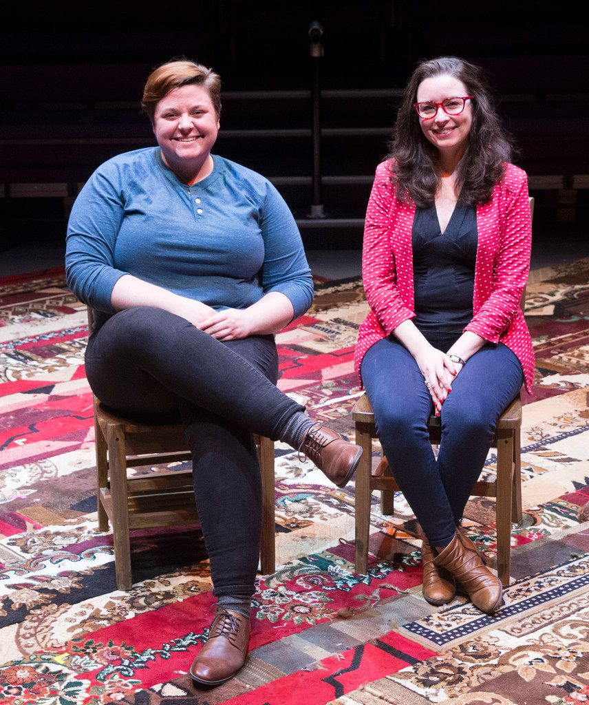 Associate director Kelsey Leigh Ervi (left) and artistic director Joanie Schultz on the stage of The Great Distance Home, an original play for WaterTower Theatre at Addison Conference and Theatre Centre in Addison.