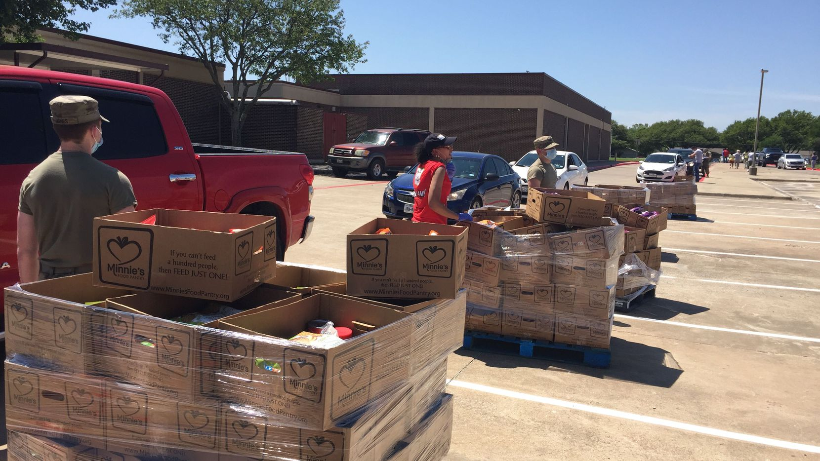 Minnie s Food Pantry, a Plano nonprofit, distributed more than 750 boxes of food for Easter weekend at Bowman Middle School in Plano on April 8, 2020.