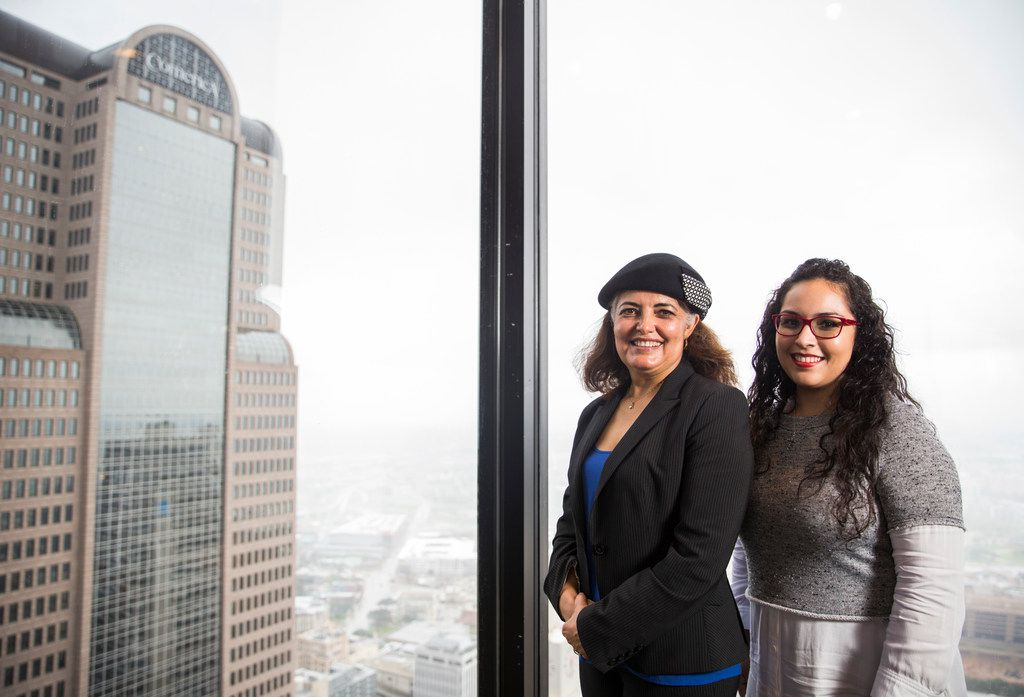 Dallas-Area Interfaith organizer Socorro Perales (left) and Lily Rodriguez on Thursday, Nov. 8, 2018, at Thanksgiving Tower in Dallas.