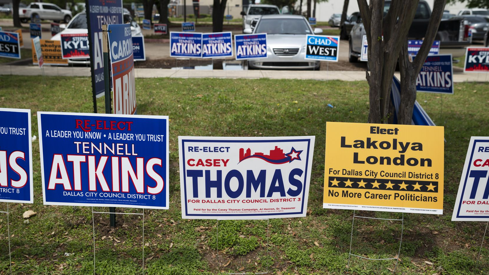 Campaign signs for Dallas City Council candidates fill the grass areas outside of the Oak Cliff Sub-Courthouse on the first day of early voting in Dallas on April 19.