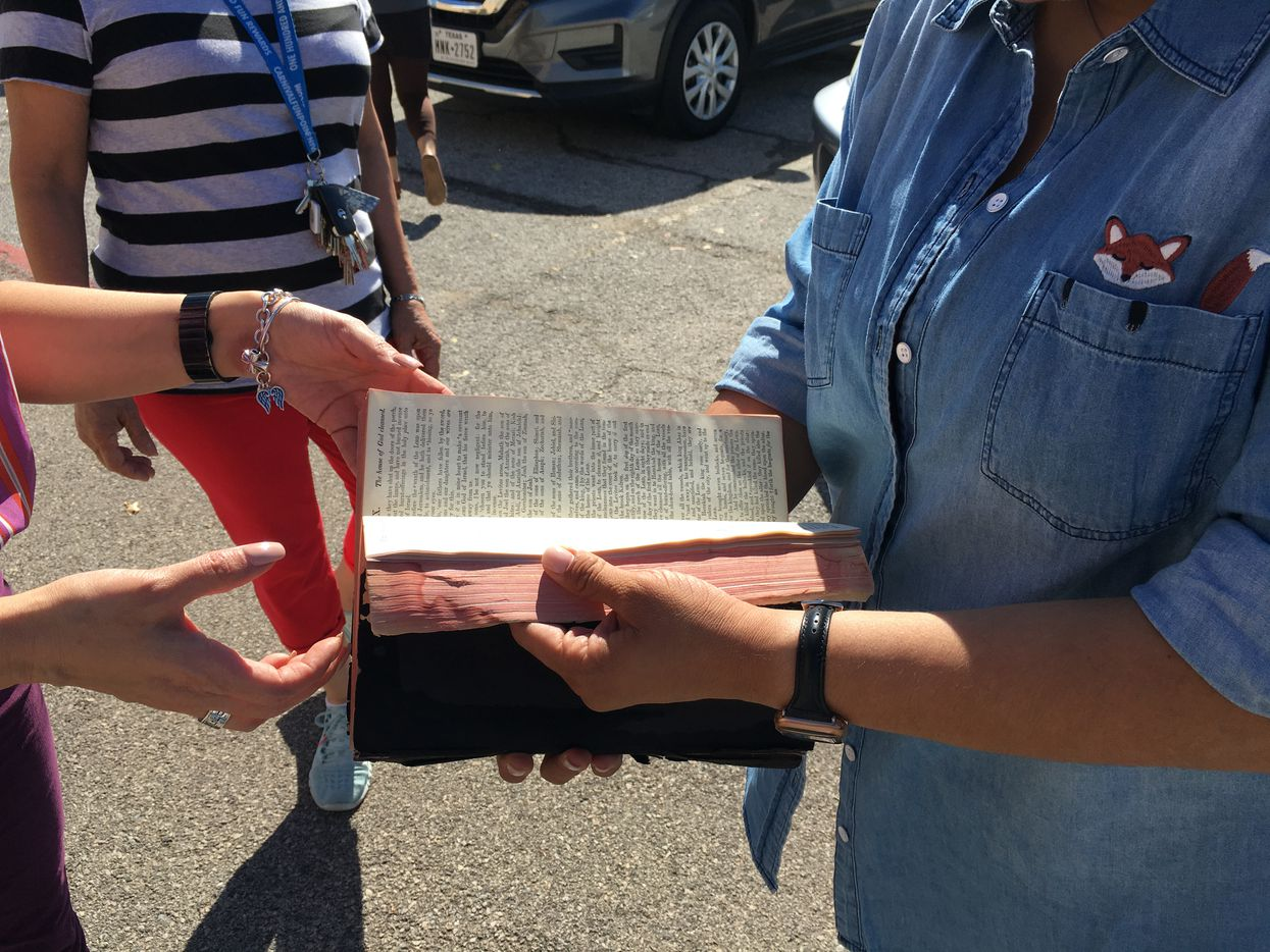 Parishioners of the Primera Iglesia Dallas unearthed a damaged -- though mostly intact -- bible from the church that had previously survived a 1984 fire.