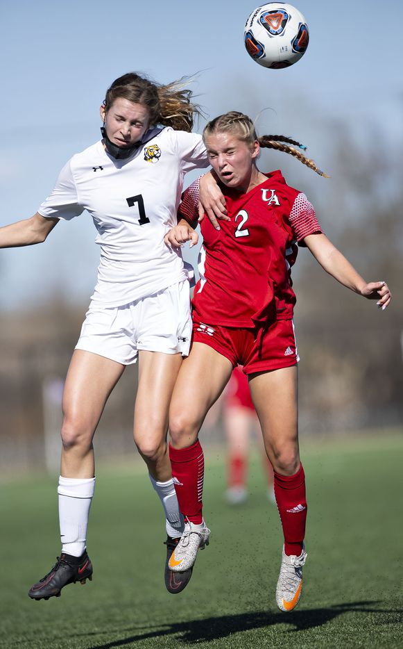 Ursuline's Cate Wagner (2) goes up against St. Agnes' Lean Klenke (7) during their division 1 championship game against St. Agnes at the Round Rock Multi Purpose Complex on March 5, 2021 in Round Rock, Texas. (Thao Nguyen/Special Contributor)
