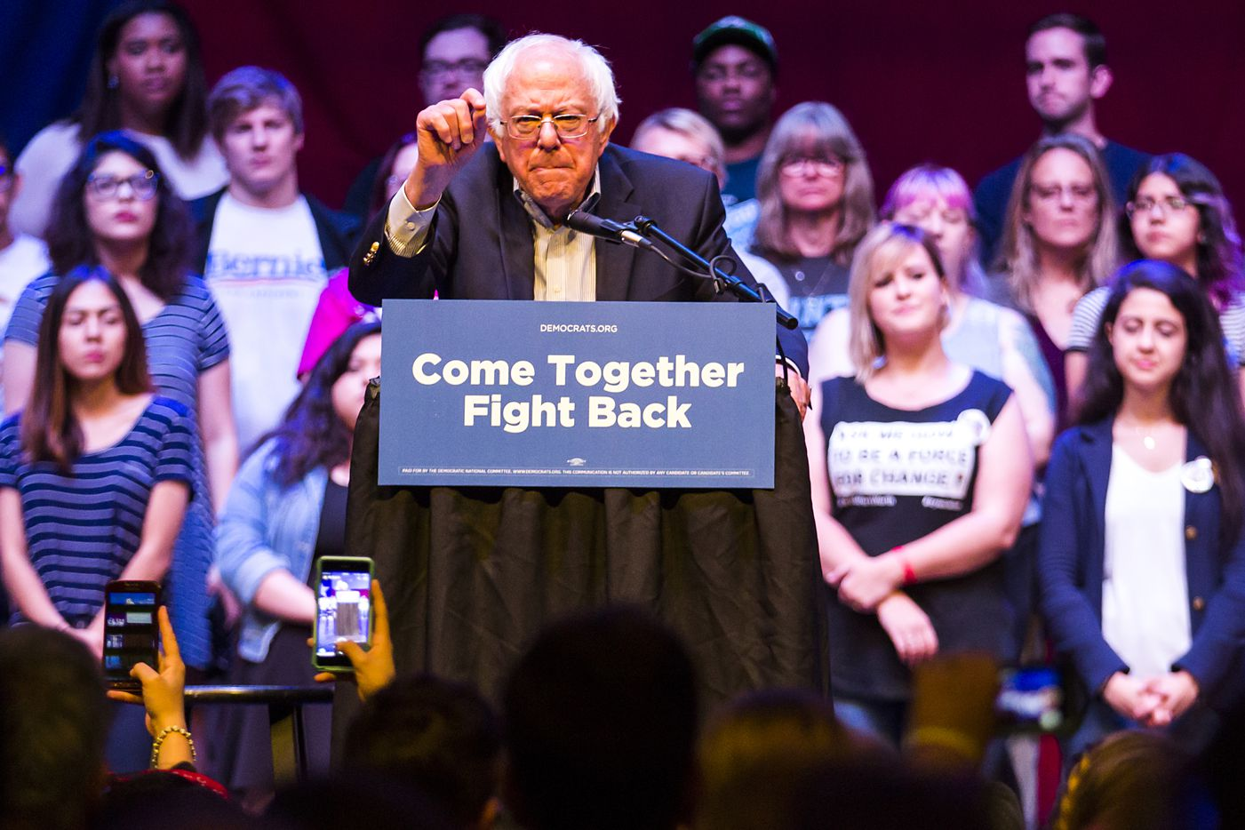 "Vermont senator Bernie Sanders addresses a rally at the Verizon Theater on Thursday, April 20, 2017, in Grand Prairie, Texas. Sanders, the runner-up in the 2016 Democratic contest for president, appeared in North Texas as part of a national tour urging Democrats to ""Come Together and Fight Back"" against the agenda of President Trump."