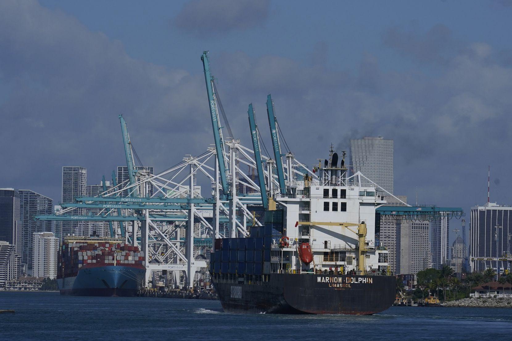 In this April 29 photo, the Warnow-Dolphin container ship enters Port Miami in Miami Beach, Fla.
