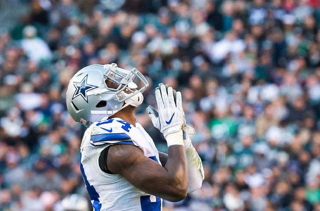 Dallas Cowboys defensive end Randy Gregory  celebrates after sacking Philadelphia Eagles quarterback Carson Wentz during the second half of an NFL football game at Lincoln Financial Field on Sunday, Jan. 1, 2017, in Philadelphia. The Eagles won the game 27-13. (Smiley N. Pool/The Dallas Morning News)