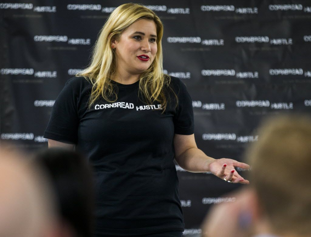 """Cheri Garcia, founder of Cornbread Hustle, a Dallas staffing agency for felons, speaks to her entrepreneurship program for parolees and people """"a little rough around the edges"""" who want to get their live back on track."""