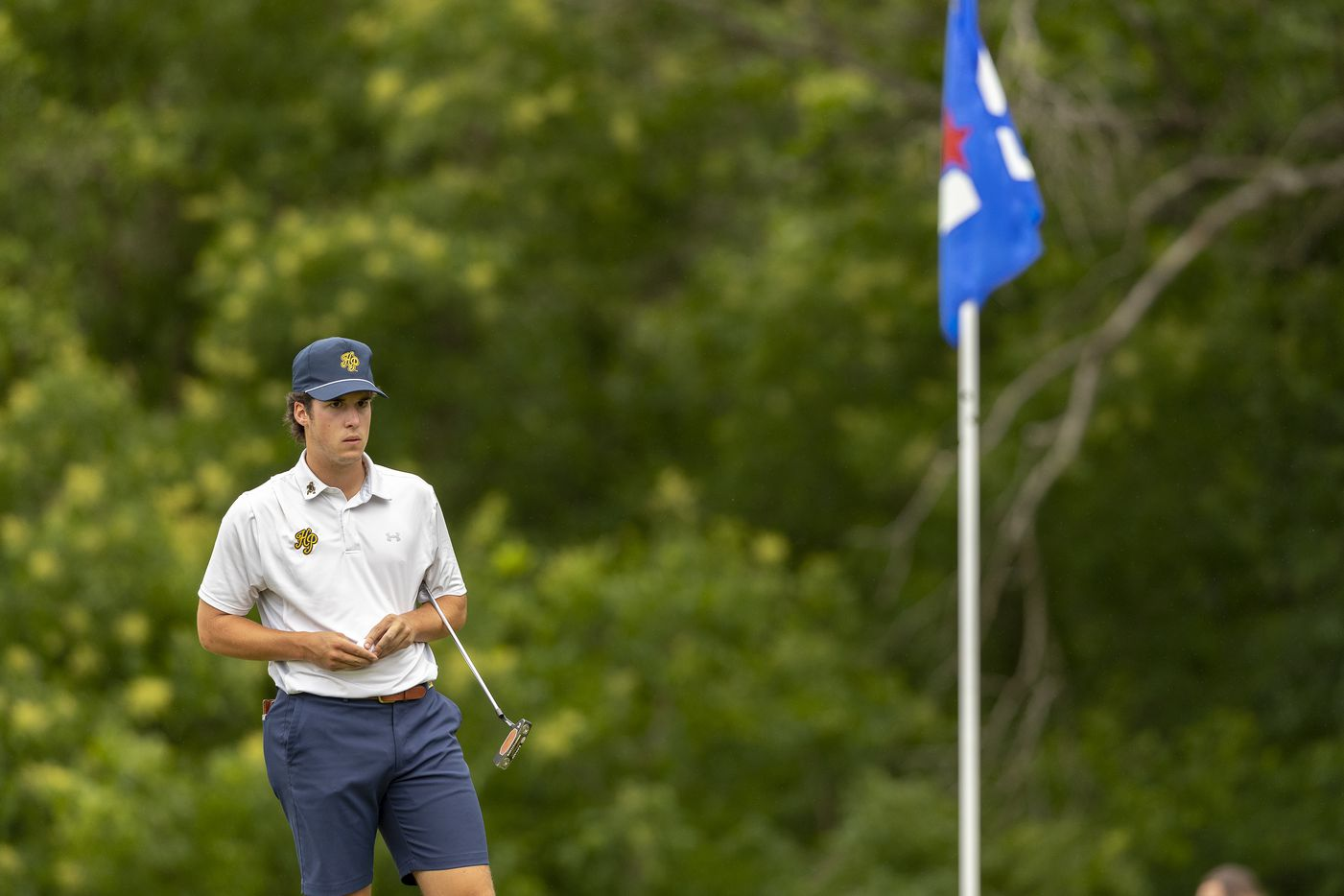 Highland ParkÕs Joe Stover studies his shot on the 9th green during round 1 of the UIL Class 5A boys golf tournament in Georgetown, Monday, May 17, 2021. (Stephen Spillman/Special Contributor)