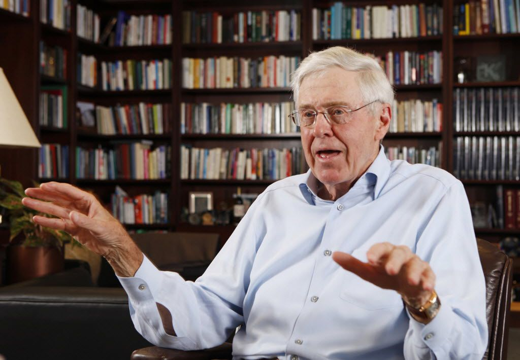 Charles Koch speaks in his office at Koch Industries in Wichita, Kansas.