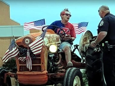 Laurie Bostic, 60, led Rockwall police on a chase on a tractor Saturday after she was told that she could not be part of a Fourth of July parade, according to authorities.