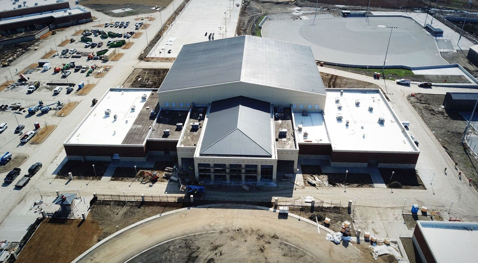 Prosper Rock Hill's football team will be playing its first year of varsity football when the school opens in fall, 2020. This photo shows the building housing indoor campus athletic facilities which were under construction in February 2020.