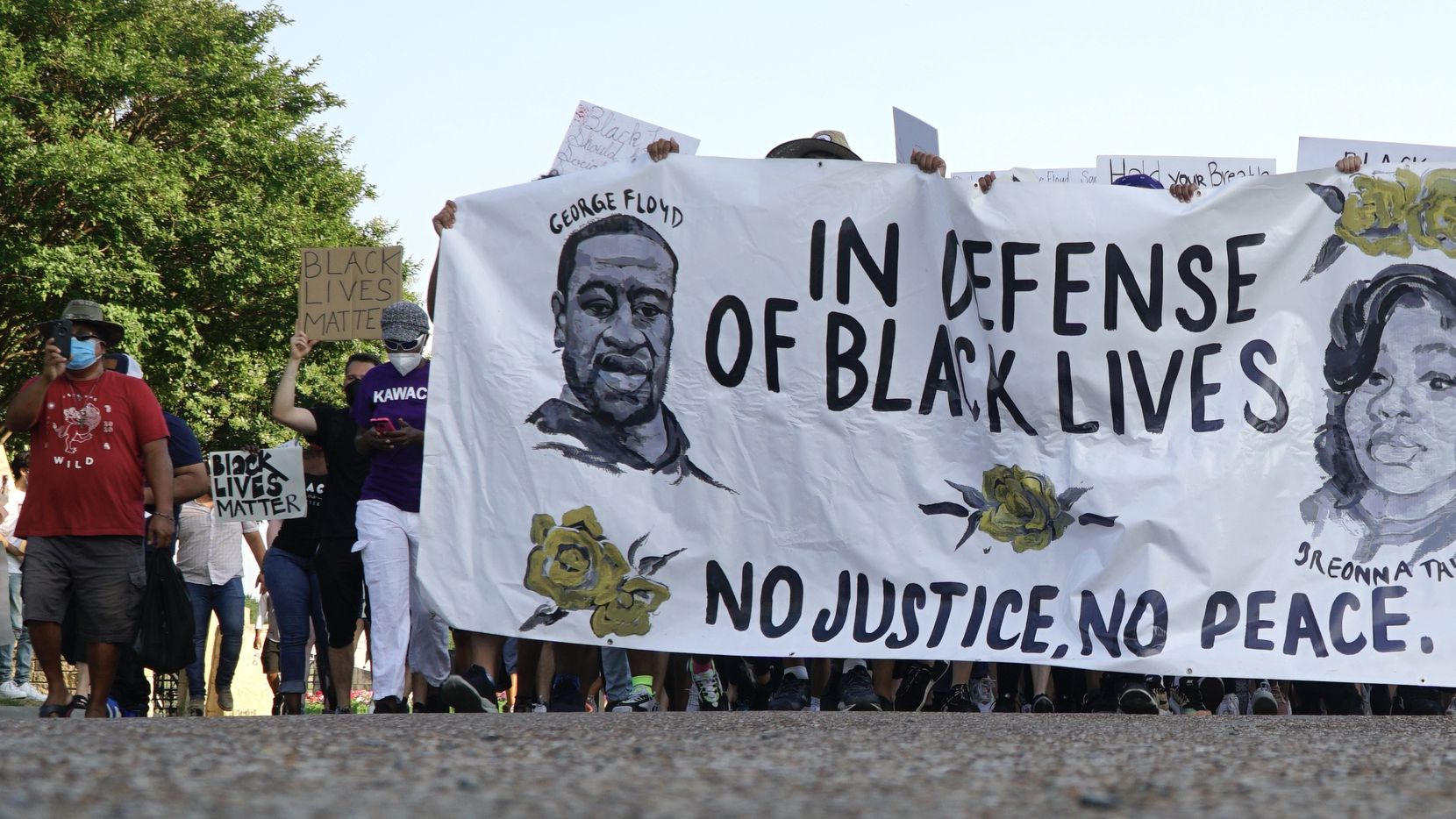 Hundreds of people marched in a protest in Irving, Texas on Monday, June 8, 2020. The protest was to show solidarity in the midst of the latest killing of George Floyd, a black man in Minnesota.