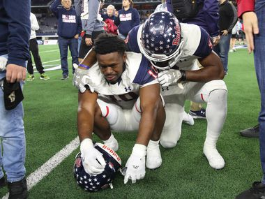 Denton Ryan reacts to losing a Class 5A Division I state championship game against Alvin Shadow Creek at the AT&T Stadium in Arlington, on Friday, December 20, 2019. Shadow Creek won 28-22. (Juan Figueroa/The Dallas Morning News)