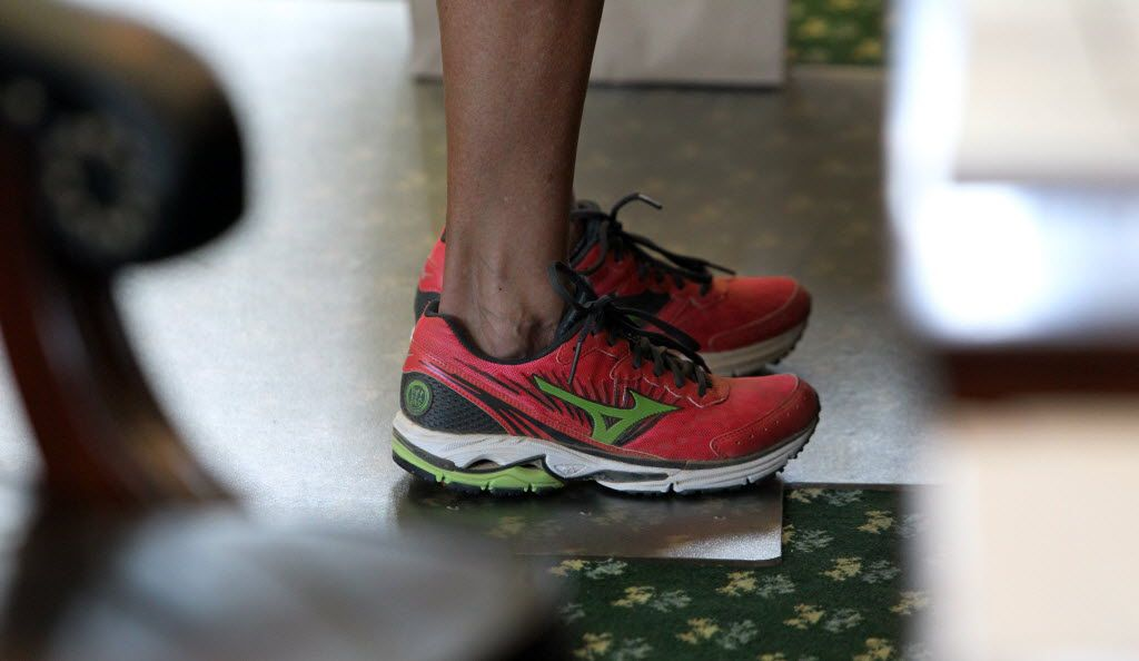 State Sen. Wendy Davis wore comfortable shoes as she filibustered during the final day of the legislative special session as the Senate considered an abortion bill on June 25, 2013.