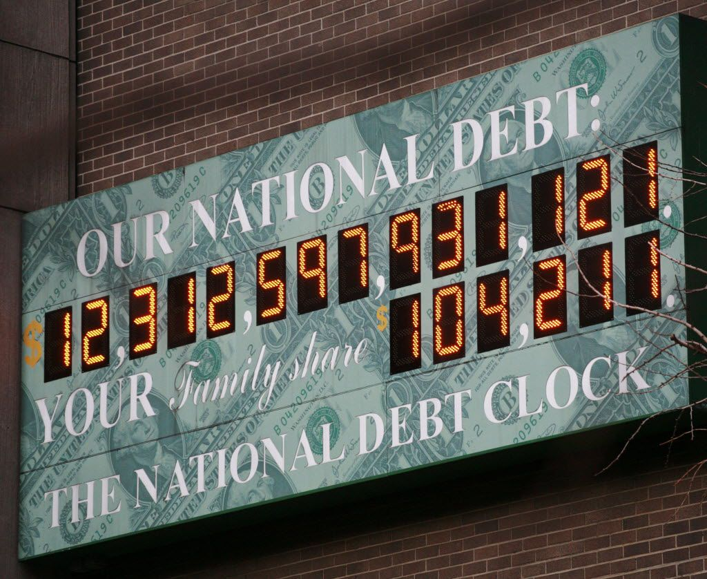 This Feb. 1, 2010, file photo shows the National Debt Clock in New York.
