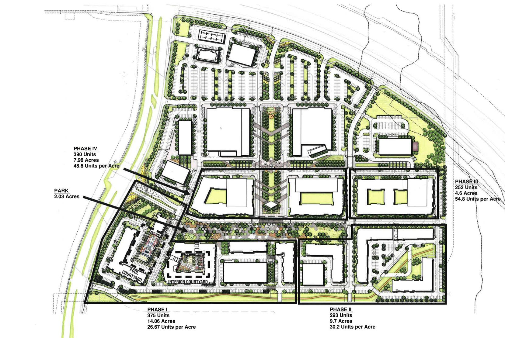 The project is planned for four phases of apartments, a two-acre park plus retail and office space.